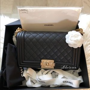 Brand New Authentic Chanel medium boy black